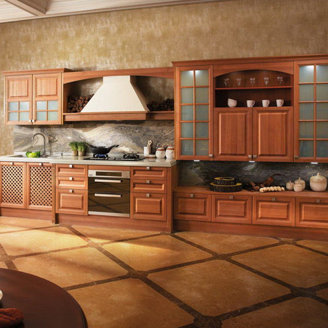 Customized Color Particle Board Kitchen Cabinets For Residential Decorating Furniture