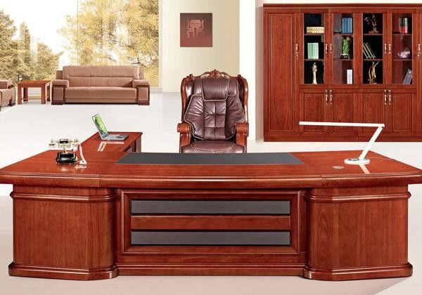 Luxury Boss Wooden Workstation Desk / Beautiful Hard Wood Executive Office Desk